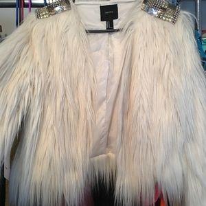 Forever21 white fur vest